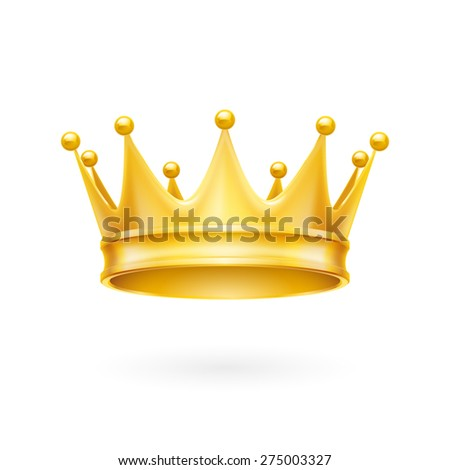 Raster version. Royal attribute golden crown isolated on a white background