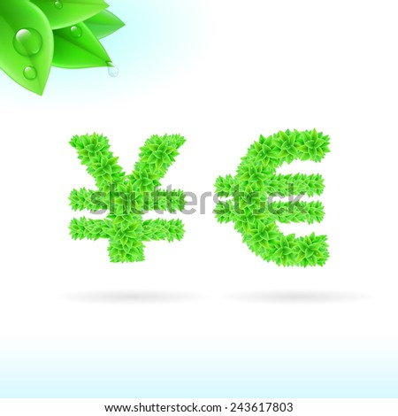 Raster version. Sans serif font with green leaf decoration on white background. Yen and euro signs  - stock photo