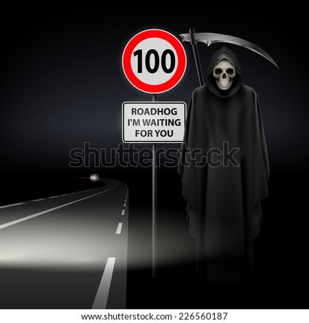 Raster version. Scytheman beside the road with  traffic sign 100  - stock photo