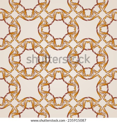 Raster version. Seamless abstract floral pattern in the form  golden vines  - stock photo