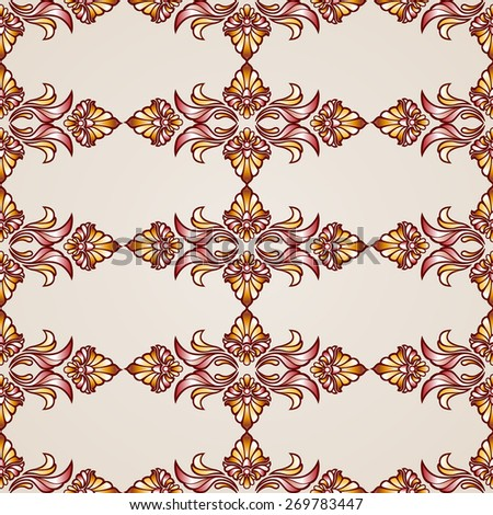 Raster version. Seamless abstract floral pattern in the form of flower plants