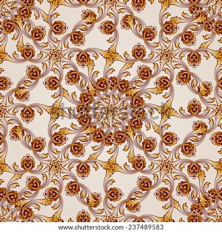 Raster version. Seamless abstract floral pattern in the form of mesh from leafs, vines and flowers  - stock photo