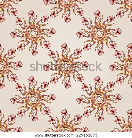 Raster version. Seamless flowers pattern of brown henna on beige background  - stock photo