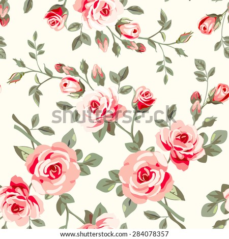 Raster version. Seamless pattern with roses - stock photo