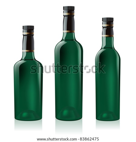 Raster version. Set number two of green wine bottle. Illustration on white background - stock photo