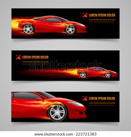 Raster version. Set of banners with racing car in orange flame  - stock photo