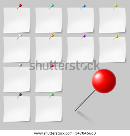 Raster version. Set of Blank sticky notes with pushpins - stock photo
