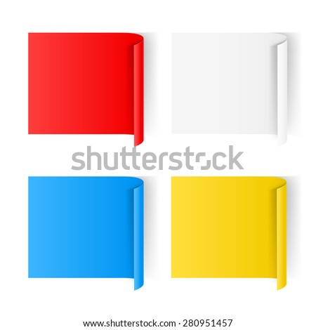 Raster version. Set of color paper sticker isolated on a background  - stock photo