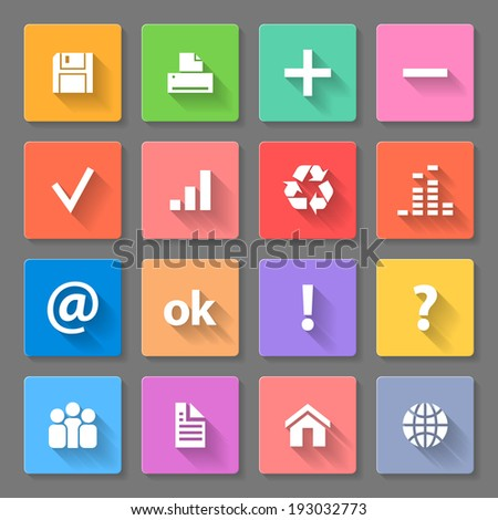 Raster version. Set of colorful square flat icons with long shadows for web design and apps - stock photo
