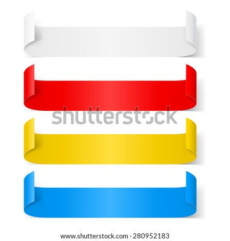 Raster version. Set of colorfull paper sticker isolated on a background  - stock photo