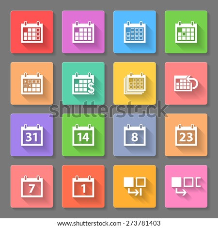 Raster version. Set of flat square  icons with calendars on the gray background  - stock photo