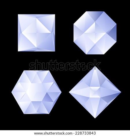 Raster version. Set of four shiny rhinestones of differebt shapes. Illustration on black background  - stock photo