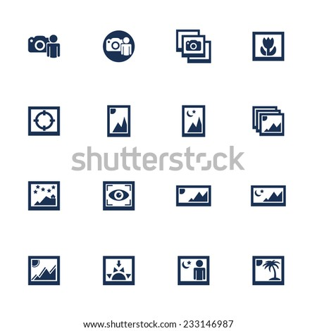 Raster version. Set of media photo icons with different photo shots in flat style  - stock photo