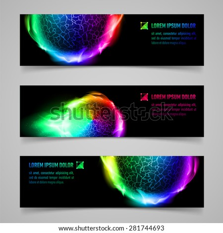 Raster version. Set of multicolored banners with flaming spheres - stock photo