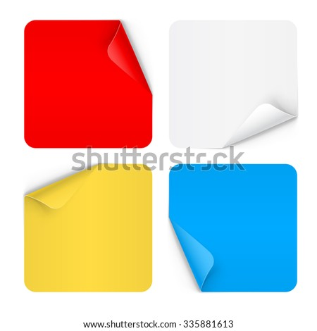 Raster version. Set of paper sticker isolated on white background - stock photo