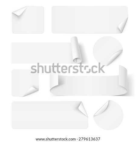 Raster version. Set of white paper stickers isolated on white - stock photo