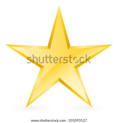 Raster version. Shiny Gold Star. Form of the seventh. Illustration for design on white background - stock photo