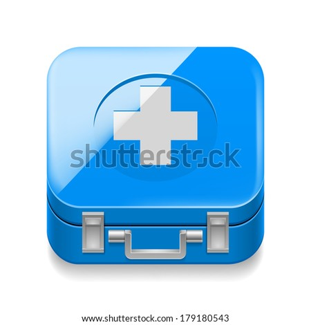 Raster version. Shiny icon of blue first-aid kit on white background - stock photo