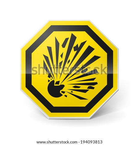 Raster version. Shiny metal warning sign of explosion on white background - stock photo