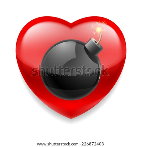 Raster version. Shiny red heart with bomb ready to explode  - stock photo