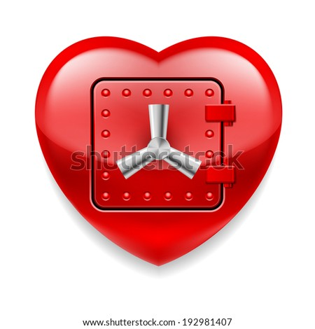 Raster version. Shiny red heart with safe door. Love or life in safe  - stock photo