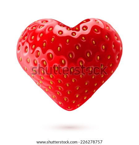 Raster version. Shiny strawberry heart isolated on white background  - stock photo