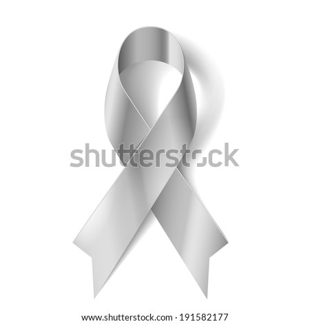 Raster version. Silver awareness ribbon as symbol of Parkinson Disease, ovarian cancer, brain disorders and disabilities - stock photo