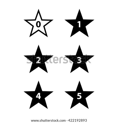 Raster version. Simple Stars Rating. Black Shapes on White Background