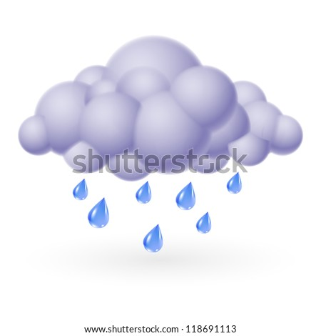 Raster version. Single weather icon - Bubble Cloud with Rain - stock photo