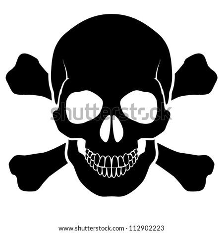 Raster version. Skull and bones - a mark of the danger  warning - stock photo