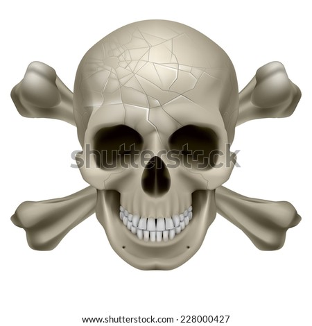 Raster version. Skull and Crosbones -illustration of a scratch  human skull with crossed bones behind it isolated on white background  - stock photo