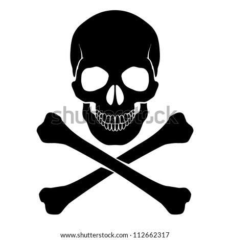 Raster version. Skull and crossbones - a mark of the danger  warning - stock photo