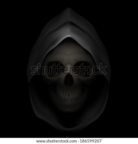 Raster version. Skull in black hood as image of death. Grim Reaper.  - stock photo