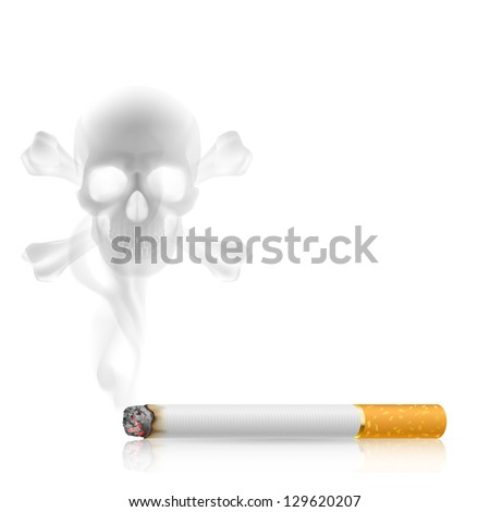 Raster version. Skull shaped smoke comes out from cigarette on white - stock photo