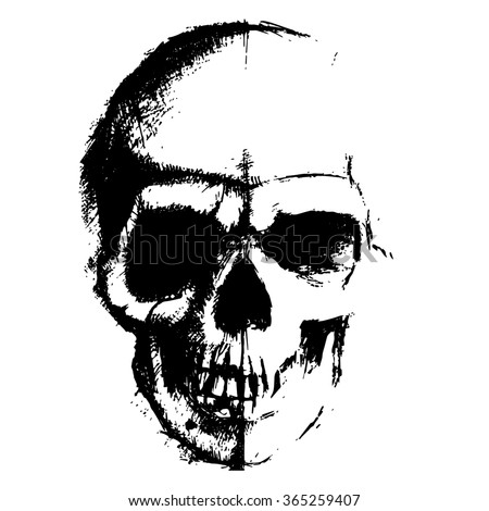 Raster version. Skull sketch element isolated on white background