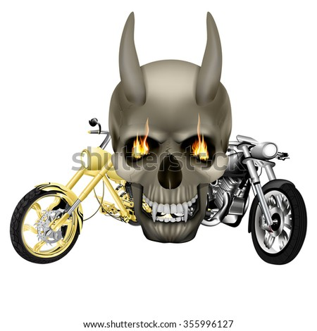 raster version skull vampire monster with fangs flames in front of the background of two motorbike, choppers. Isolated object on a white background, can be used with any image. - stock photo