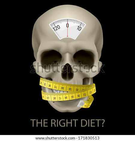 Raster version. Skull with balance scale, measuring tape and text  beneath as symbol of unhealthy diet. - stock photo