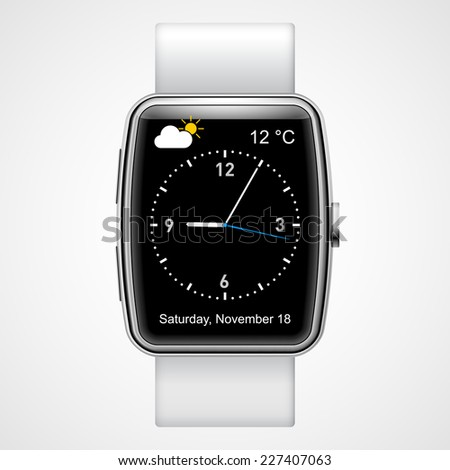 Raster version. Smart  analog wrist watch with black screen on  white background  - stock photo