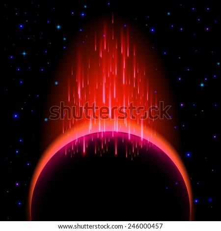 Raster version. Space background. Dark planet with red radiance and star shower  - stock photo