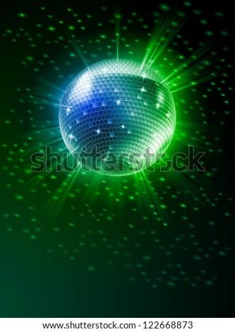 Raster version. Sparkling Disco Ball on Green Light Burst - stock photo