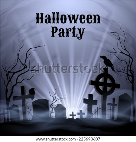 Raster version. Spooky graveyard on the H alloween Night, Halloween Party poster in black and white  - stock photo