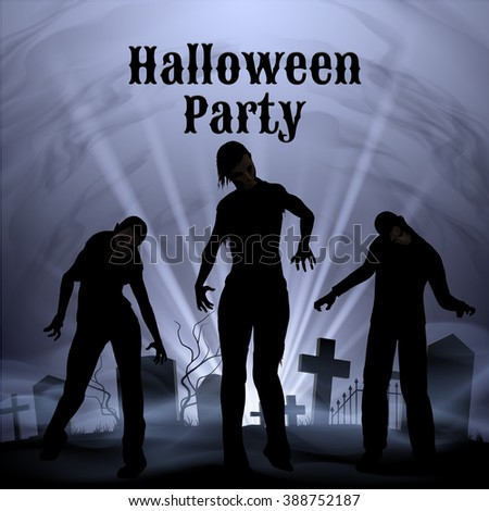 Raster version. Spooky graveyard on the Halloween Night, Halloween Party poster in black and white with zombie - stock photo