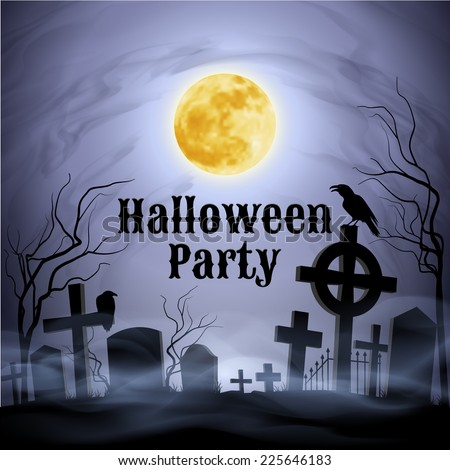 Raster version. Spooky graveyard on the Halloween Night with evil raven on a celtic cross under full Moon. Have a nice Halloween Party!  - stock photo