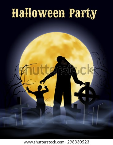 Raster version. Spooky graveyard on the Halloween Night with zombie  - stock photo