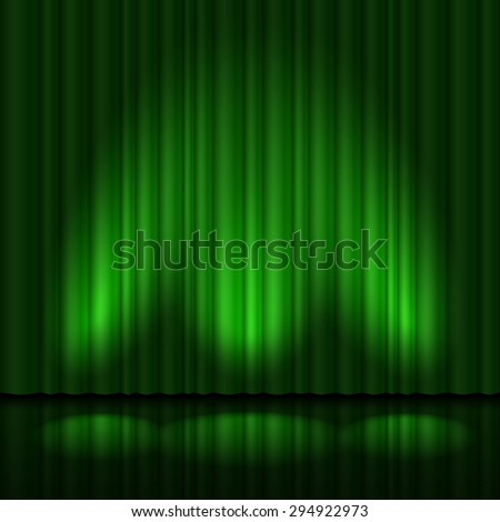 Raster version. Stage with green curtain and three spot light. Illustration of the designer - stock photo
