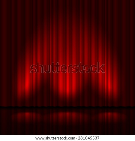 Raster version. Stage with red curtain and three spot light.  Illustration of the designer  - stock photo