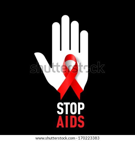 Raster version. Stop AIDS sign with white hand and red ribbon on black background. - stock photo