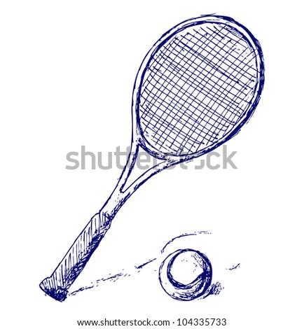 Raster version. Tennis racket and ball - stock photo