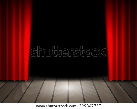 Raster version. Theater stage with wooden floor and red curtains. . - stock photo