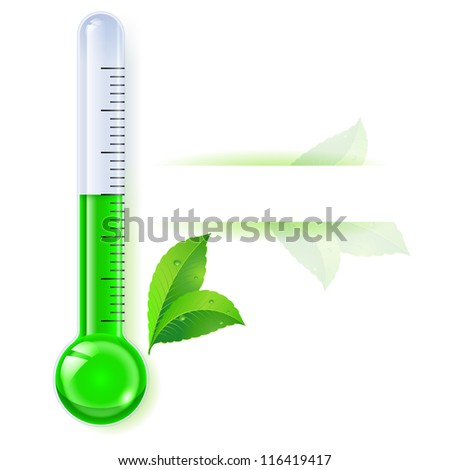 Raster version. Thermometer by seasons. Spring. Illustration on white - stock photo